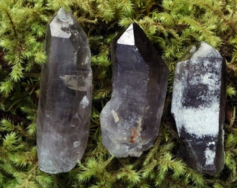 raw smokey quartz points