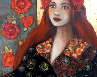 Woman portrait in a boho style with gold leaf 54x72cm