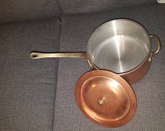 Vintage Copper Coated Saute Pan