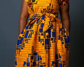 Mixed print African maxi dress with belt, maxi dress, African print, African clothing, women clothing, Ankara maxi dress