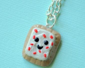 Kawaii Strawberry Poptart Polymer Clay Necklace Miniature Food Jewelry