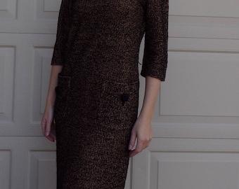 BLACK and TAN BOUCLE shift dress vintage knit S (B5)