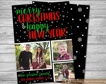 Christmas Photo Card / Holiday Photo Card / Merry Christmas / Happy New Year / Back Side / Christmas Card / Holiday Card / Digital File
