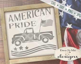 Patriotic svg - July 4th SVG - Vintage Red Truck svg - American Pride svg - Old Truck with Flag svg -  Commercial Use svg, dxf, png, jpg