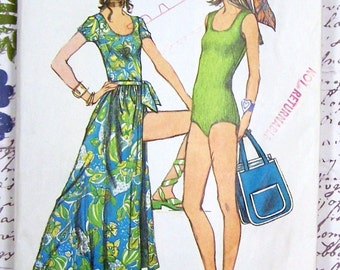 Simplicity 9411 Body-Suit, Wrap-Skirt and Tote Bag Vintage Sewing Pattern Misses Size 10