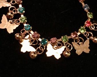 Gold plated dangle butterfly charm bracelet