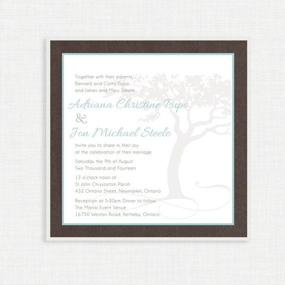 Printable Wedding Invitation- With RSVP Card, Printable DIY, Wedding Invitation, Wood Grain, Tree Invitation