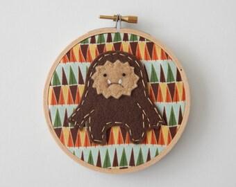 "4"" Bigfoot Embroidery Hoop Ornament"