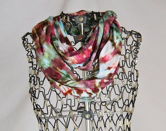 Infinity Scarf-Cotton Jersey Scarf-Tie Dye Scarf-Pink Maroon Geen-Circle Scarf