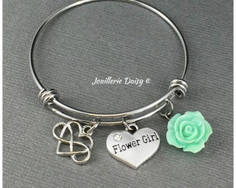 Flower Girl Jewelry Gift for Flower Girl Bracelet Bangle Bracelet Flower Girl Gift from Bride Bridal Party Jewelry
