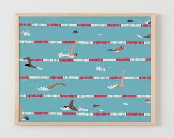 Fine Art Print.  Swim Team Practice, May 5, 2016.