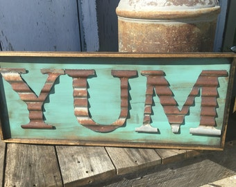 YUM Sign - Rustic Kitchen Decor - Farmhouse Sign - Metal Letter - Corrugated Metal -Metal Wall Hanging - Country Kitchen