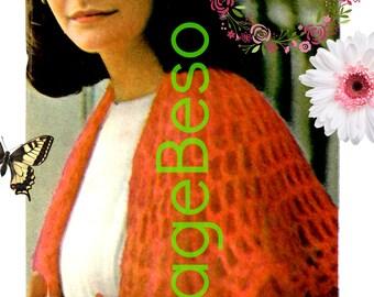 Shawl CROCHET Pattern • PdF Pattern • Feminine Mesh Shawl • Boho Lovely • Vintage 1970s • Cool Summer Evenings