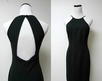 Vintage 90's Black Dress, Laundry By Shelli Segal, Little Black Dress, 1990's Cut Out Dress, Size 10