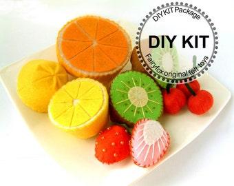 felt play food, felt fruit, DIY felt fruits Kit Package--K-V02
