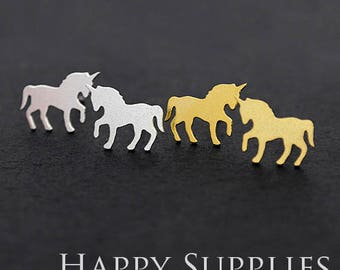 Nickel Free - High Quality Unicorn Dual-used Golden / Silver Brass Earring Post Finding with Ear Stud Stopper (ZEN130)