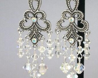 Swarovski crystal chandelier earrings, Victorian style elegance, sparkly crystal AB bridal earrings