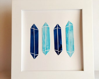 """Blue Crystal Points - 8x8"""" Collage"""