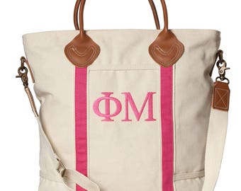 PM Phi Mu Sorority Embroidered Cotton Canvas Flight Bag