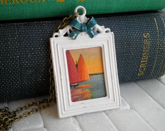 Vintage Sail Boat Nautical Statement Necklace - Retro Sailing Postcard Paper Ephemera Bib Pendant, Summer Sailor Girl Post Card Jewelry Gift