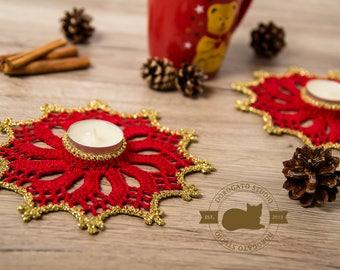 Tea light candle holder, Red candle holder, crochet Golden tea light holder, Christmas crochet ornaments, Christmas decoration