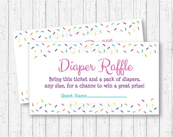 Pink Baby Sprinkle Diaper Raffle Tickets / Baby Shower Raffle / Baby Girl Sprinkle / Printable INSTANT DOWNLOAD A109
