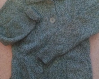 Vintage Liz Claiborne  Tweedy Green Cardigan Sweater,  Size Sm