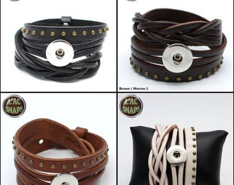 Leather bracelet, double tour, wrap with clasp for 18 / 20mm snap button, Chunk, charm, ginger snap, Noosa Style, SNAPS.Lot 1,2,6