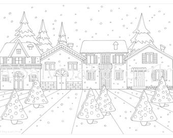 "Download digital print from my original drawing to the stretch ""Christmas"", downloadable, printable, adult coloring page, Christmas village"