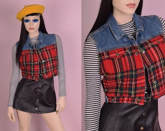 90s Denim and Plaid Flannel Cropped Vest/ XS/ 1990s