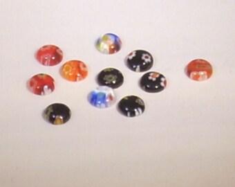 Set of 10 cabochon round 4mm millefiori glass