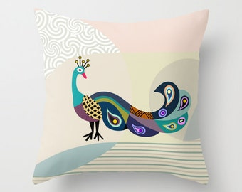 Peacock Pillow,  Cute Bird Pillow, Pillow Case, Decorative Pillow Cover, Colourful Throw Pillow, Home Decor Pillow