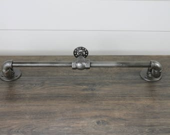 Industrial Galvanized Pipe Towel Rack with Valve