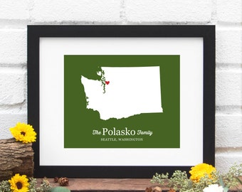 Washington State Personalized Map, Personalized Wedding Gift, State Map, Bridal Shower Decor, Gift for Couple, Gay Wedding Gift,  Print