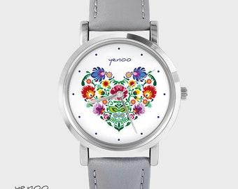 Bracelet Watch - Folk Heart - gray, leather