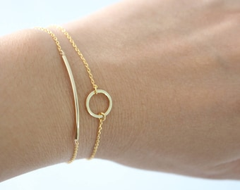 SET OF 2 Gold Bar and Gold Circle bracelet, Gold bar bracelet, gold circle bracelet, Karma bracelet, bridesmaid gift