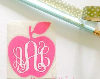 Teacher Monogram Decal Sticker | Teacher Appreciation Monogram | Apple Monogram for Teacher