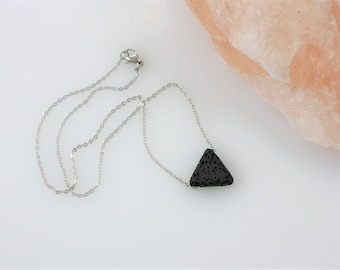 Triangle Essential Oil Necklace - Aromatherapy Necklace - Diffuser Necklace - Lava Stone Necklace - Simple Necklace - Minimalist Necklace