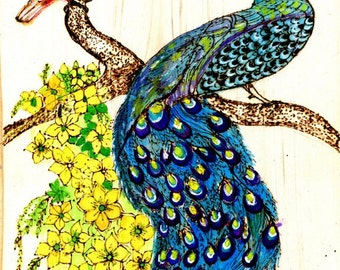Zen Doodle Woodburned Watercolor Panel Peacock and Painted Bunting