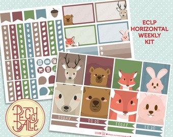 Forest Animals Weekly Kit Planner Stickers | Erin Condren Horizontal | Rabbits | Foxes | Deers | Bears