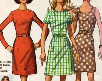 8858 Simplicity Sewing Pattern A Line or Slim Skirt Dress Choice Sleeves Size 10 Vintage 1970