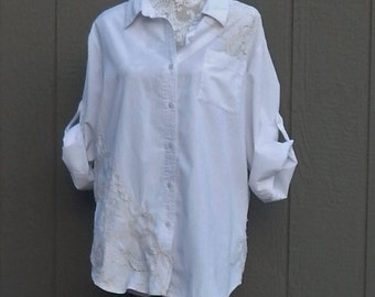 White Cotton Altered Blouse, BoHo style, shabby chic, romantic blouse,  size 20W ,cottage chic, mori girl style, Battenburg Lace Trim