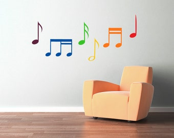 Rainbow music notes wall decal- set of six multicolor music notes