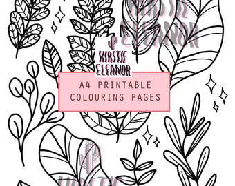 A4 Printable Colouring Page - Plants and Leaves
