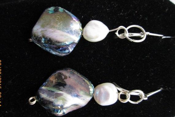 Earrings J, Abalone Pearl June Birthstone, on silver leverbacks 38ct