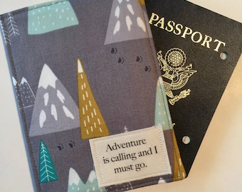 Passport Cover, Passport Wallet, Travel Set, Passport Holder and Luggage Tag, Adventure Travel, Mountains are Calling, Vegan Passport cover