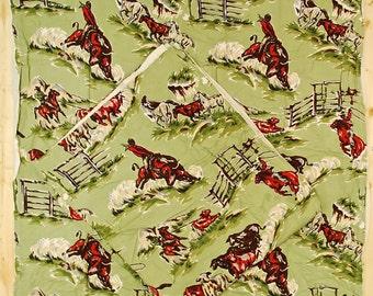 "Vintage 1940's Set (2) Bark Cloth Curtains / 44"" x 50"" / Corral Print / Retro Collectable Rare"