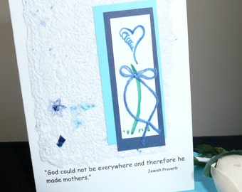 Mothers Day Card with Jewish Proverb Quote on Handmade Paper