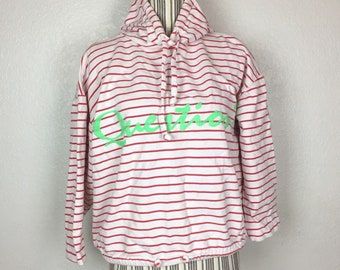 VTG Question? L Striped Cropped 3/4 Sleeve Hoodie Sweater Size L