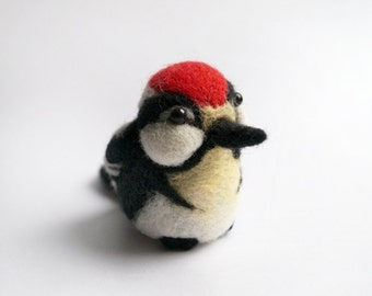 Needle felted woodpecker